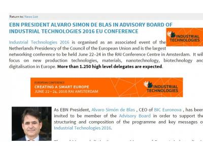 Álvaro Simón in Advisory Board of Industrial Technologies 2016 EU Conference